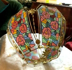 Vintage-Modern-Glass-Lamp-Shade-W-Floral-Panels-Table-Lamp-Floor-Lamp-Swag-Lamp