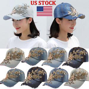 2017-Women-Diamond-Flower-Baseball-Cap-Summer-Style-Ladies-Jeans-Hats-US-Stock