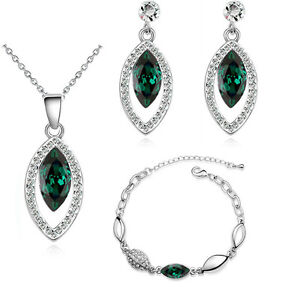 Luxury Vintage Emerald Green Teardrop Jewellery Set Stud Earrings Necklace S587 LPG8P