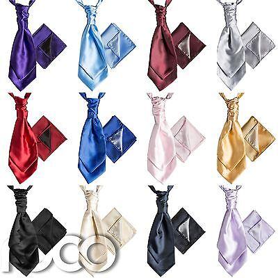 Mens Satin Wedding Ruche Cravat Tie with hankys, Cravat for Mens, Mens  Cravats   eBay