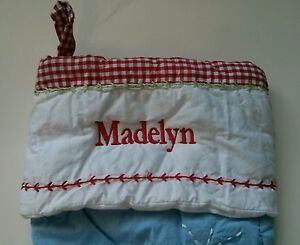 Pottery Barn Kids Quilted Red Gingham Reindeer Christmas