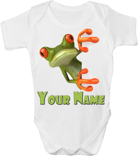GRO //BODYSUIT  *GREAT GIFT /& NAMED TOO * GREEN FROG PERSONALISED BABY VEST