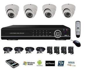 Kit-de-video-surveillance-numerique-DVR-IP-4voies-cameras-mini-dome-blanc