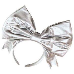 1980-039-s-Madonna-Lady-Gaga-Silver-Metallic-Bow-Headband-80-039-s-Fancy-Dress