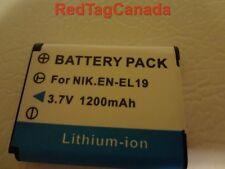Battery for Nikon EN-EL19 Coolpix S2500 S3100 S4100 1200mAh