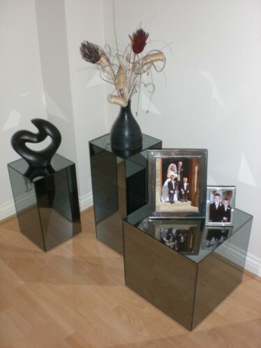 STUNNING GREY TINTED 'GLASS' MIRROR CUBES SIDE TABLES 3 SIZES TO CHOOSE FROM