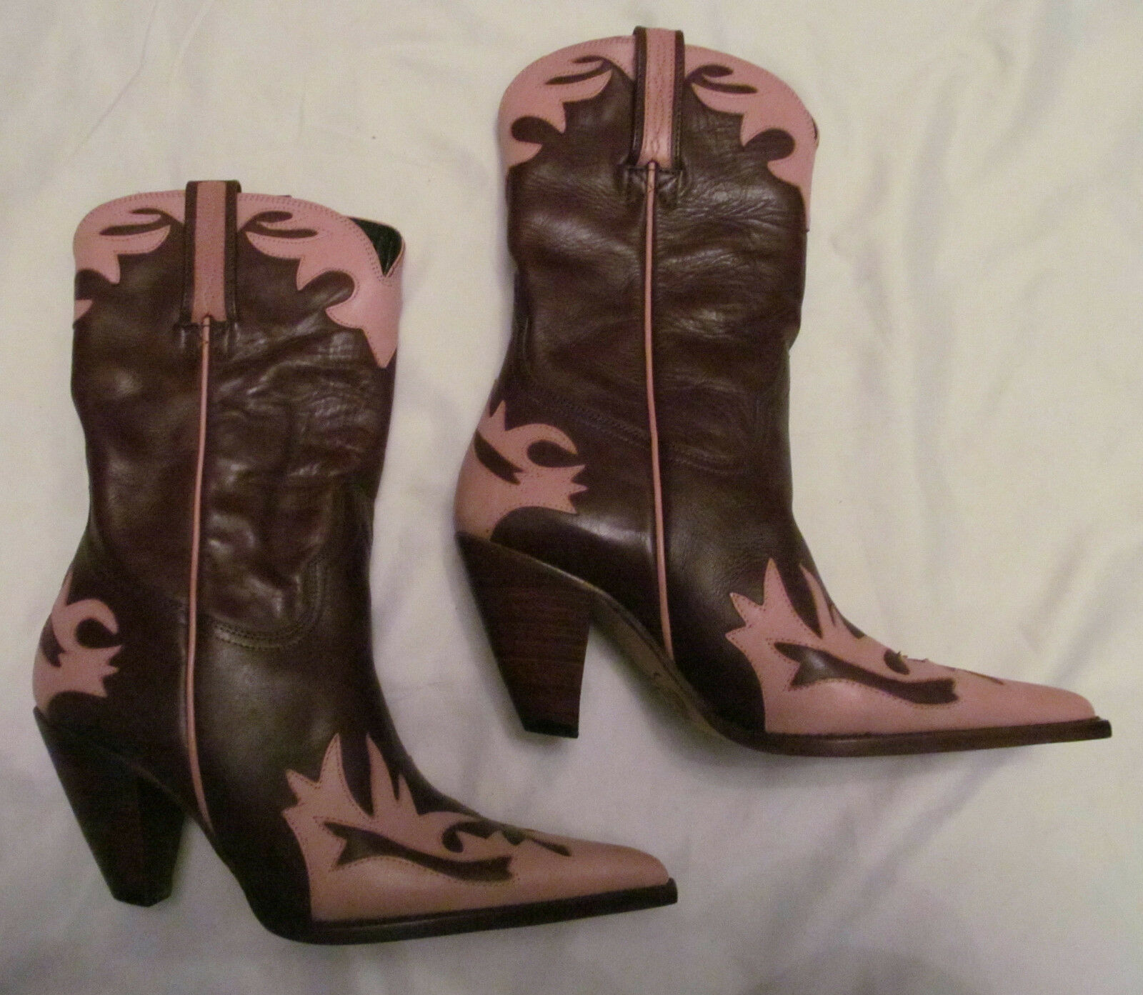 LUCCHESE CHARLIE 1 HORSE marron rose pointed toe heeled cowboy bottes 6.5 NEW