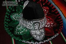 "Authentic Mexican Mariachi-Sombrero Charro Hat Adult 18.5"" Black/Grn/Red/Silver"