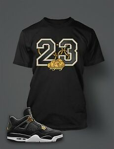 2defad1876ec7 Details about 23 T Shirt to Match Air Jordan 4 Royalty Shoe Black Graphic  Tee Gold Dollar
