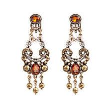 Boucles d`Oreilles Clous Doré Chandelier Cristal Jaune Ambré Mini Perle XX 13