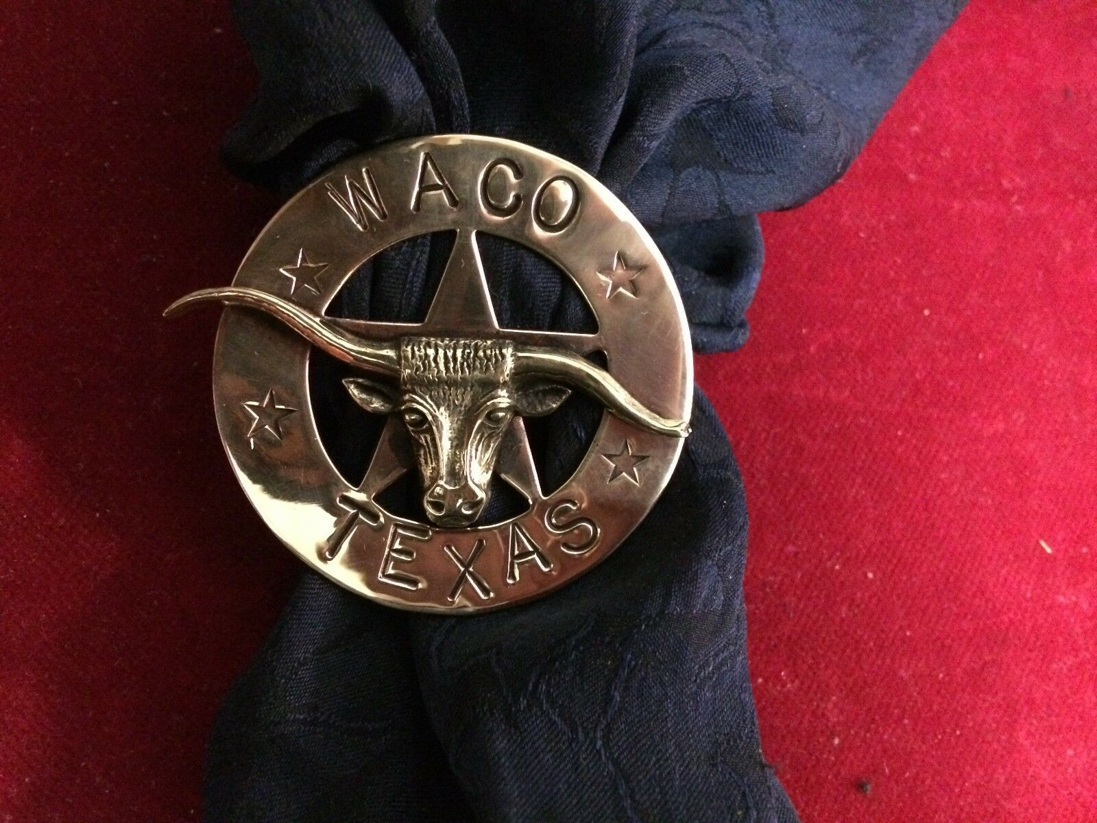 Scarf Slide Wild Rag Slide  Brass Circle Star w  Bronze Steer, Waco, Texas
