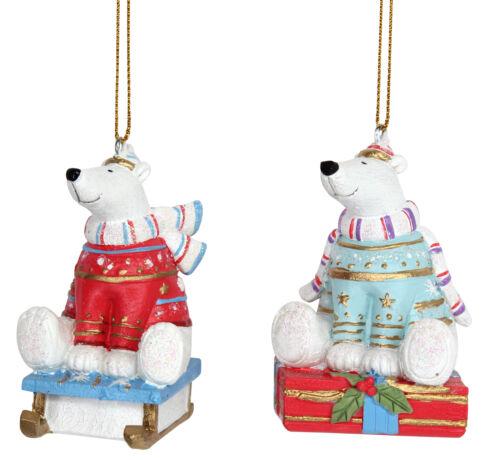 2 x Assort Gisela Graham ours polaire en pull pendaison arbre de Noël Décoration