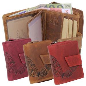 Damen-Leder-Geldboerse-Portemonnaie-Geldbeutel-Nappaleder-RFID-Schmetterling