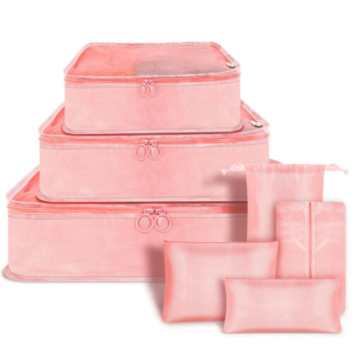7pcs Travel Bags Waterproof Clothes Storage Luggage Organizer Pouch Packing Cube