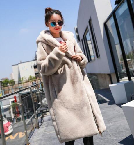 Womens Hooded Long Faux Fur Coat Velvet Loose Zipper Slim Winter Coat Outwear