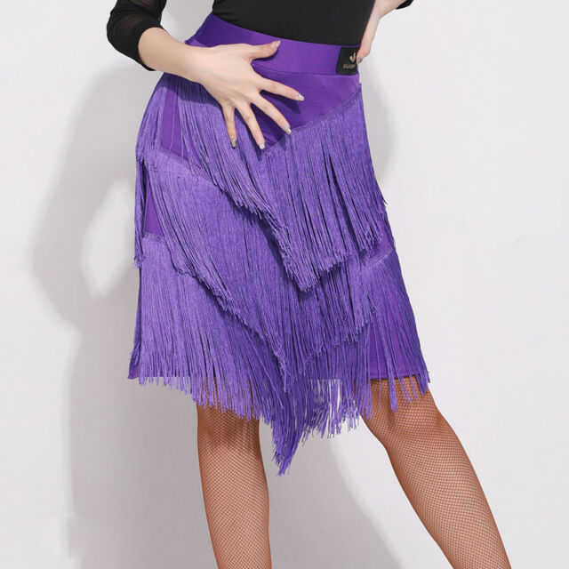 Womens Tassels Latin Salsa Tango Rumba Cha Cha Square Ballroom Dance Dress Skirt