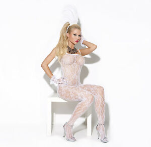 2f919ea052 NEW Lace Bodystocking White all in one sexy underwear Bridal EM-8596 ...