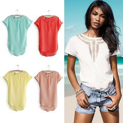 Sexy Women Casual Chiffon Blouse Short Sleeve Shirt Summer T-shirt Tops S-3XL