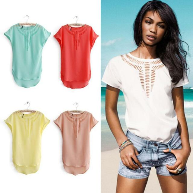 New Womens Sexy Ladies Short Sleeve Hollow Chiffon Blouse Loose Shirt Casual Top