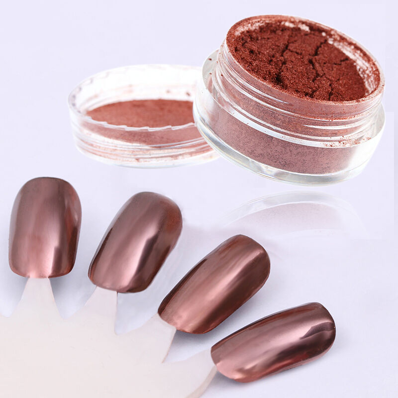 How To Use Chrome Nail Powder Without Gel: ROSE GOLD MIRROR Powder Aluminium Effect Chrome Nails