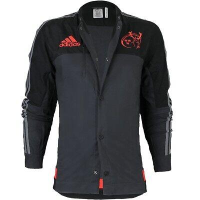 Adidas Munster Anthem Giacca Giacca Uomo Grigio/nero Fanjacke Rugby Clubwear Nuovo-