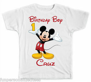 9ec47266f Image is loading Personalized-Disney-Mickey-Mouse-Birthday-Boy-T-Shirt