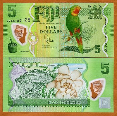 FIJI, 5 dollars, 2012 (2013), P-New, POLYMER, UNC> ZZA, Replacement
