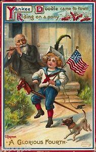 Vintage-4th-of-July-Fabric-Block-Yankee-Doodle-Dandee