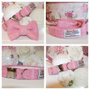 Colliers de chien rose bébé Harris Tweed mène Bandanas Noeuds papillon Chiens