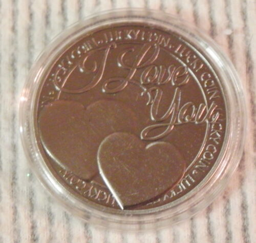 I Love You Token Lucky Coin Happiness Wish Pewter Color Hearts Romance NICE
