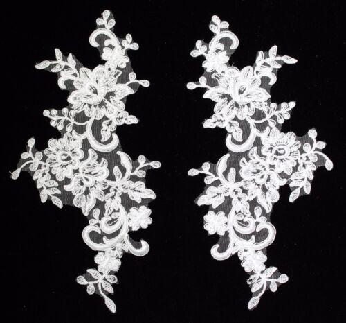 2 X Bridal Lace Applique Floral Corded Wedding Motif size:27cmx 13cm  2 col #9