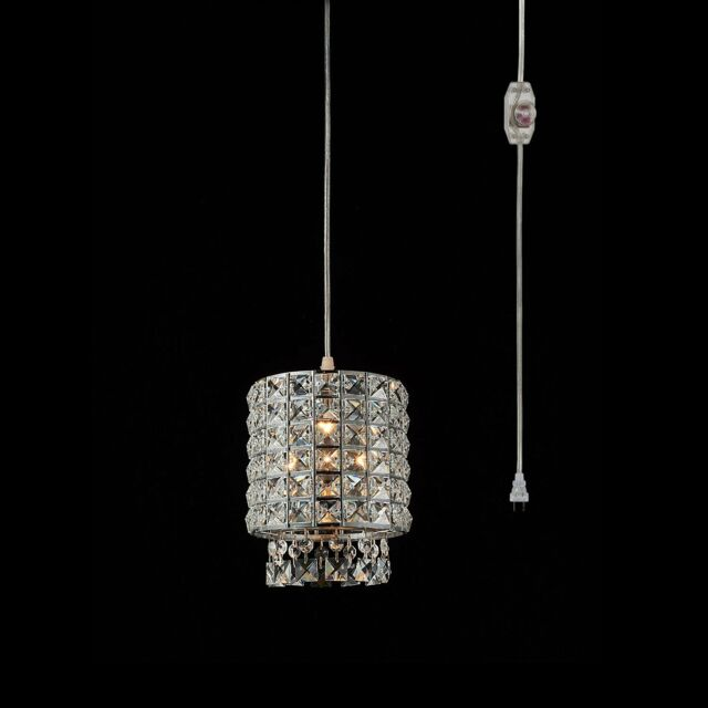 Plug In Modern Crystal Chandelier Swag Pendant Light With Clear 15 Cord And