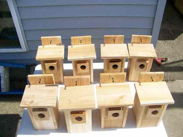 4 BLUEBIRD  BIRD HOUSES NEST BOX WITH TOP OPENING FREE S//H  HANDMADE IN USA