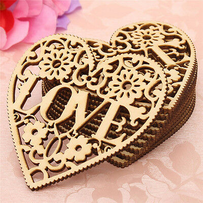 10PCS Wooden Shape Love Heart Wedding Hanging Decoration Craft Embellishment New