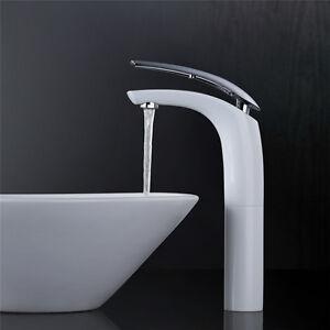 Design-Waschtischarmatur-hoch-Wasserhahn-Bad-Armatur-Mischbatterie-weiss-Chrom