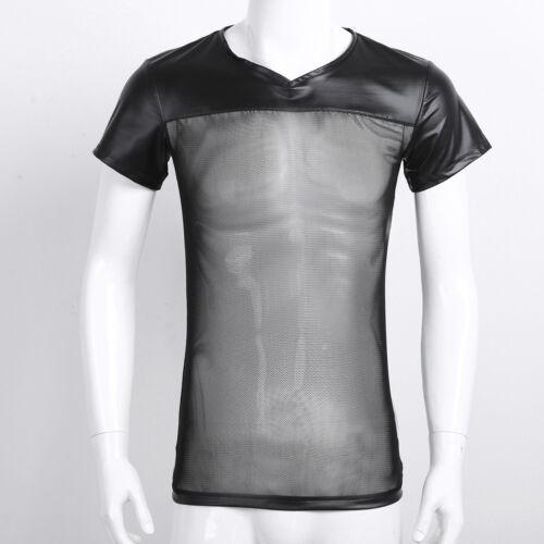 Men/'s Mesh Fishnet Short Sleeve Tank Top Training Underwear T-Shirt Vest Tops UK