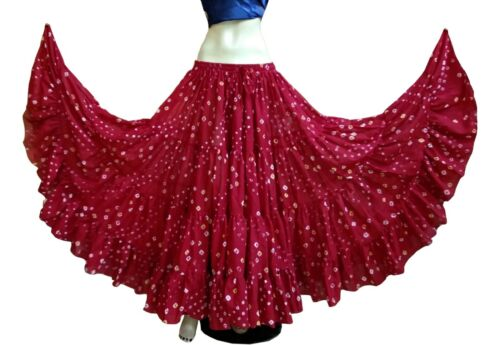 25 Yard Skirt Tribal Red POLKA DOT Belly Dance Skirts 100/% JAIPUR  ATS