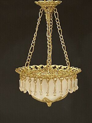 Dollhouse Miniature Handcrafted Brass Ceiling Lamp with Bowl 12V 1:12 Scale