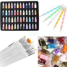 20Pcs Nail Art Design Brush Pen Tool Set 48 Colors Glitter Manicures Decoration