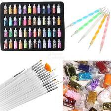 20Pcs Nail Art Design Brush Pen Tool Set 48 Colors Glitter Manicures Decoration