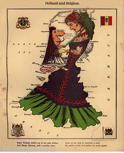Holland-amp-Belgium-Netherlands-Vintage-Reproduction-Antique-Old-Color-Repro-Map