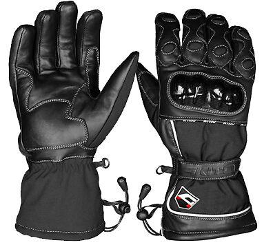 Akito Python Waterproof Winter Touring Motorbike Motorcycle Gloves - Black LARGE