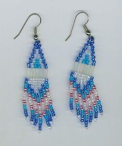 TURQUOISE BLUE WHITE PINK BEADS BEADED ZULU DROP//DANGLE EARRINGS