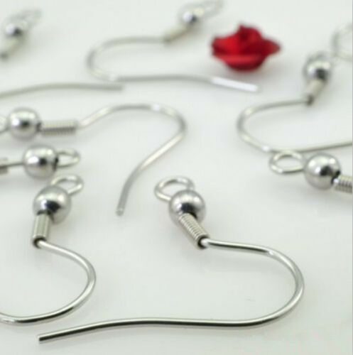 100pcs 316L Stainless Steel Ear Wires Hooks ~with Bead Coil ~ Earring Finding