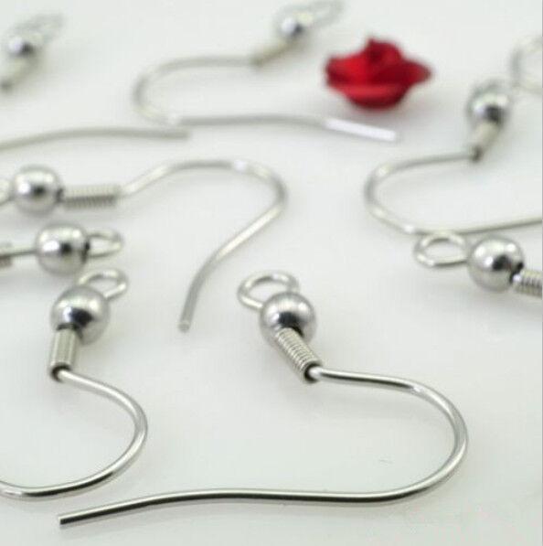 100pcs 304L Stainless Steel Ear Wires Hooks Claps Jewelry Earrings Findings
