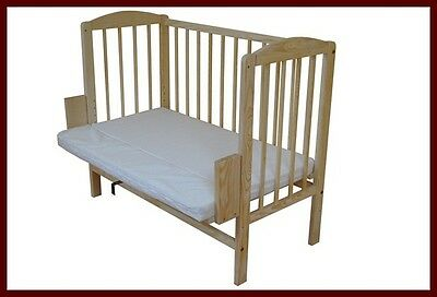 New Co Sleeper Bedside Cot Wooden Bed Crib Beech Mattress