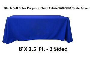 Blank-Full-Colour-Table-Cover-Throw-3-Sided-Tablecloth-Fits-8Ft-Table-Blue