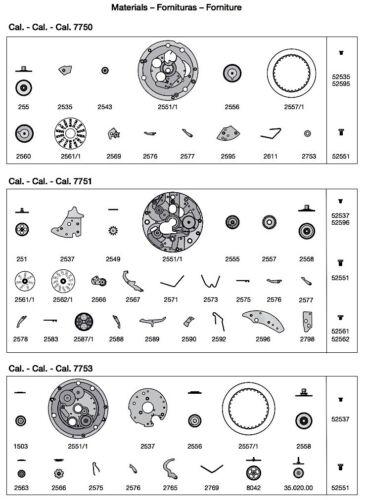 NOS 1 pc ETA Valjoux 7750 Original parts vintage Chronograph New Chrono OEM 3WC