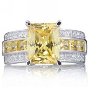 Size-7-11-Yellow-Topaz-Gold-Filled-Men-Women-Fashion-Engagement-Ring-Gift-Halo