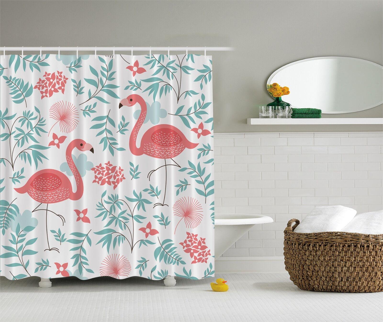 Rosa Aqua Flamingo Birds Flamingos Fabric Shower Curtain Digital Art Bathroom 999a50